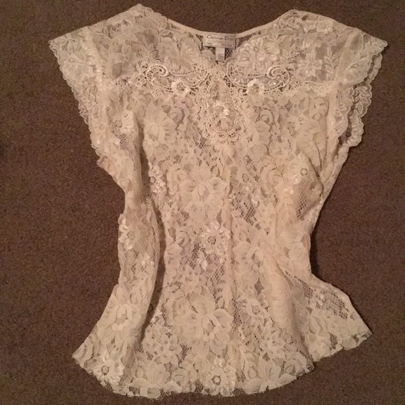 99ab5ca529 Christian Dior Tops - Christian Dior lace sheer beaded top- authentic!